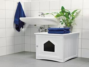 Wooden Cat Home and Litter Box, White