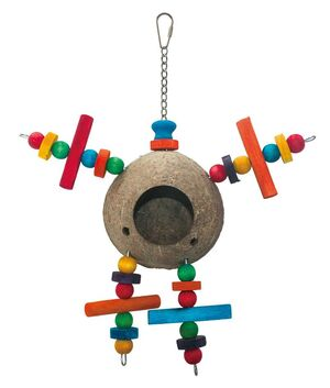 Coconut body hole parrot toy