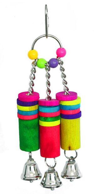 3 bells hanger parrot toy