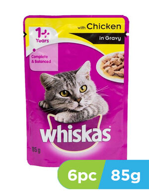 Whiskas Wet Cat Food Chicken in Gravy 6pc x 85gm