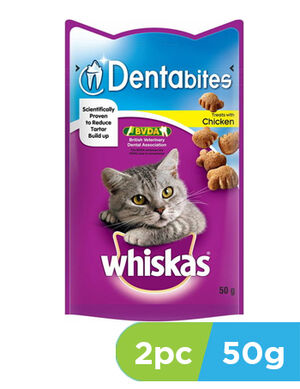 Whiskas Dentabites Cat Treats Chicken 2pc x 50gm