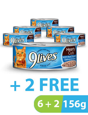 9Lives Hearty Cuts Chicken & Salmon 8 x 156 g