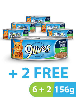 9Lives Meaty Pate Chicken 8  x 156g
