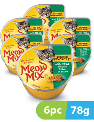 Meow Mix Tender Favorites Chicken & Liver 6pc x 78gm