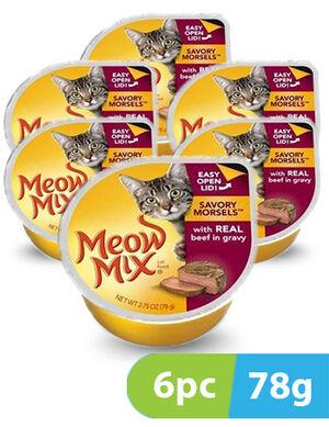Meow Mix Savory Morsels Beef 6pc x 78gm