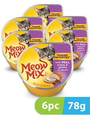 Meow Mix Tender Favorites Turkey & Giblets 6pc x 78gm -  Cats product