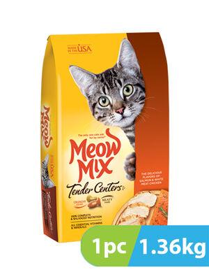 Meow Mix Tender Centers Salmon & Turkey Flavors Vitality Bursts 1.36 Kg
