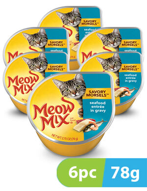 Meow Mix Savory Morsels Seafood Entrée 6pc x 78gm