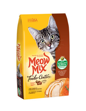 Meow Mix Tender Centers Salmon & Turkey Flavors Vitality Bursts 1.36 Kg