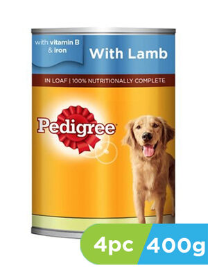 Pedigree Lamb Wet Dog Food Can 4 x 400g