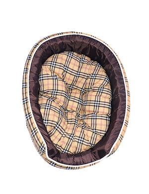 Beige Chequered dog bed
