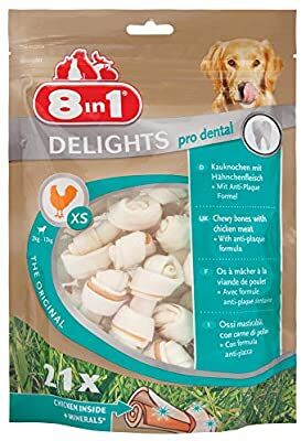 8IN1 DENTAL DELIGHTS BONES XS FOR DOGS CHEWING, WITH CHICKEN, 21 PCS