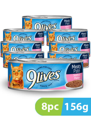 9Lives Meaty Pate Seafood Platter 8pc x 156g