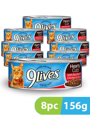 9Lives Hearty Cuts With Real Beef & Chicken 8pc x 156 g