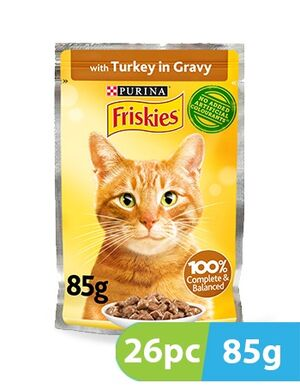 Purina Friskies Turkey Chunks in Gravy Wet Cat Food Pouch 26pc x 85g