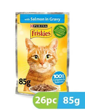 Purina Friskies Salmon Chunks in Gravy Wet Cat Food Pouch 26pc x 85g