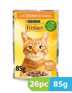 Purina Friskies Chicken Chunks in Gravy Wet Cat Food Pouch 26pc x 85g