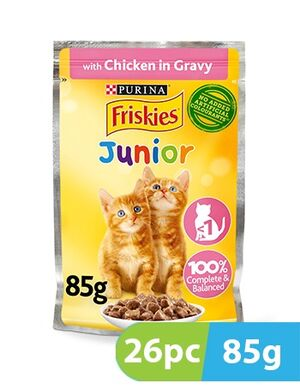 Purina Friskies Kitten Chicken Chunks in Gravy Wet Cat Food Pouch 26pc x 85g  -  Cats product