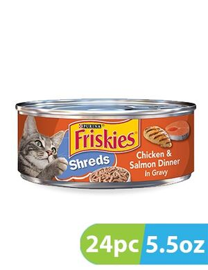 Purina Friskies Savory Shreds Chicken & Salmon Wet Cat Food 24pc x5.5oz