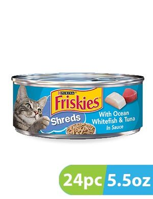 Purina Friskies Savory Shreds Whitefish & Sardines Wet Cat Food 24pc x 5.5oz
