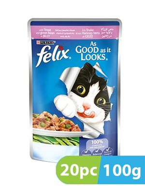 Purina Felix AgailGiJ Trout&GrnB Pch 20pc x 100g