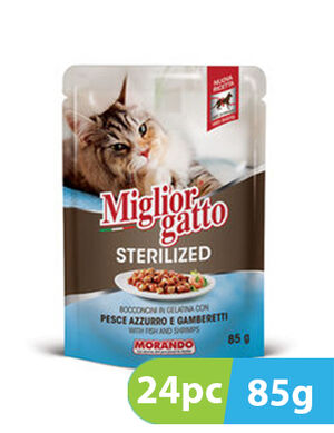 Migliorgatto Sterilized Bocconcini in Jelly with Blue Fish and Shrimps 24pc x 85g