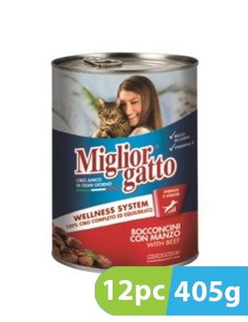 Migliorgatto Chunks with Beef  12pc x 405g