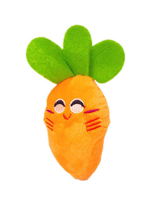 Carrot Squeaky Plush Toy Orange