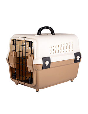 Pet Carrier Cage Brown & White