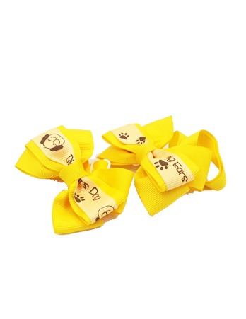Dog Print Bow Tie Yellow