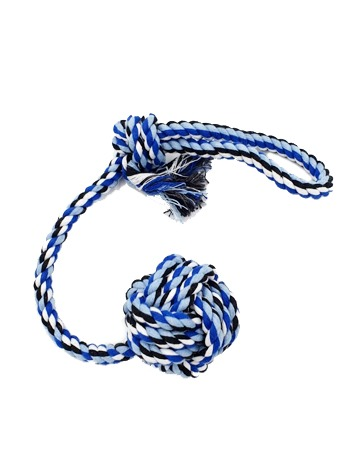 Rope Dog Toy Ball Handle Fetching Blue