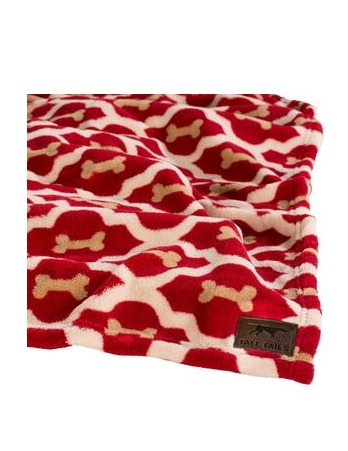 Red Bone Fleece Blanket Tall Tails Large