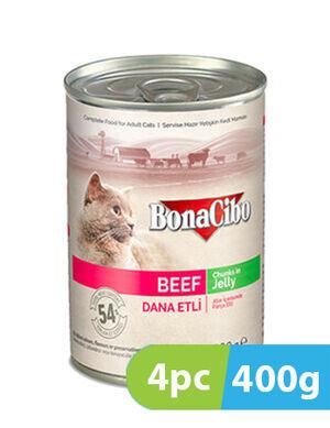 BonaCibo Adult Cat Wet Food Beef in Jelly 4pc x 400g