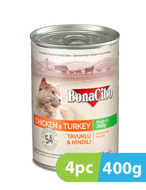 BonaCibo Adult Cat Wet Food Chicken & Turkey in Jelly 4pc x 400g