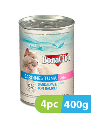 BonaCibo Adult Cat Wet Food Sardine & Tuna Pate 4pc x 400g