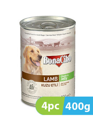 BonaCibo Adult Dog Wet Food Lamb in Jelly 4pc x 400g