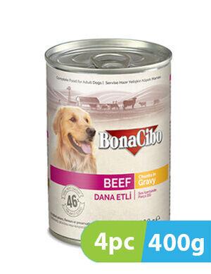 BonaCibo Adult Dog Wet Food Beef in Gravy 4pc x 400g