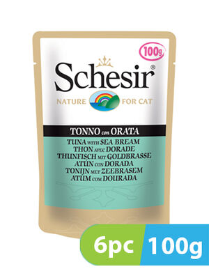 Schesir Cat Wet Food Tuna with Sea Bream 6pc x 100g