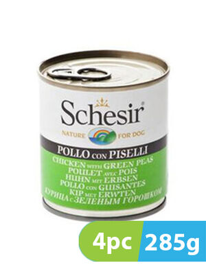 Schesir Dog Wet Food Chicken with Green Peas 4pc x 285g