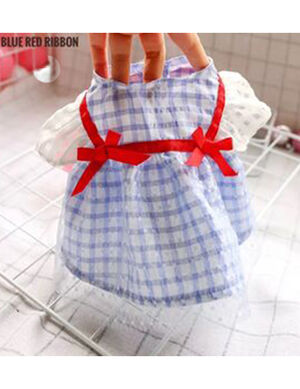 Blue Red Ribbon Dress Small