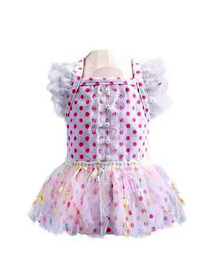 Pink & White Dots Dress Medium