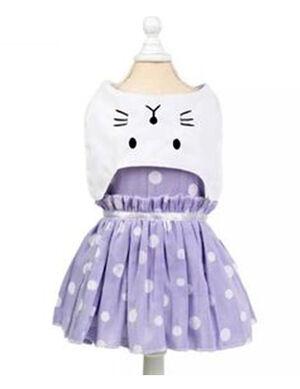 Blue & White Cat Face Dress Medium