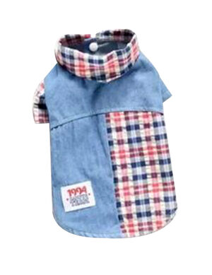Blue & Red Jeans Shirt X-Small