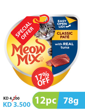 Meow Mix Classic Pate Tuna 78g 10 + 2 Free -  Cats product