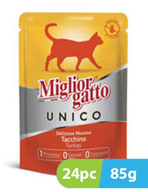 Migliorgatto UNICO  Delicious Turkey Mousse 24pc x 85g