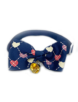 Navy Heart Bow Tie Adjustable