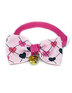 Baby Pink Heart Bow Tie Adjustable