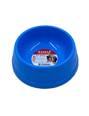Sleeky Blue Plastic Pet Bowl Small