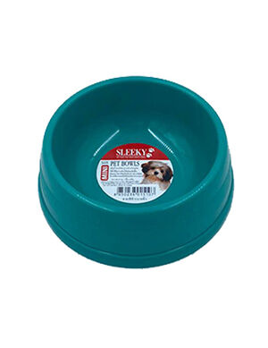 Sleeky Green Plastic Pet Bowl Medium