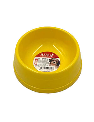 Sleeky Yellow Plastic Pet Bowl Medium